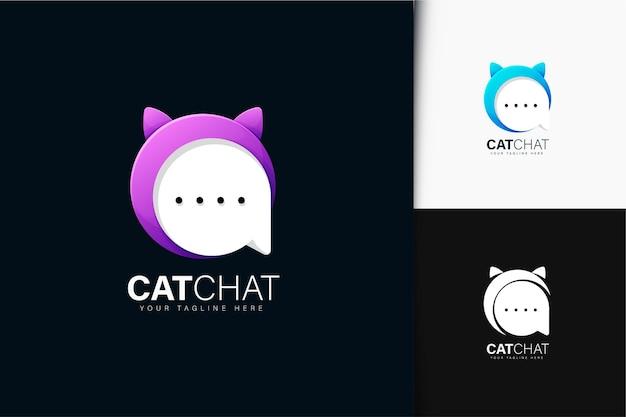 グラデーションの猫とチャットのロゴデザイン