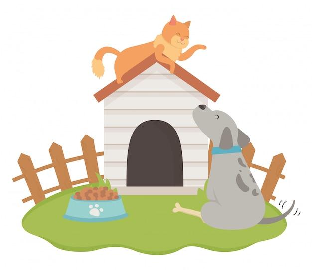 猫と犬の漫画デザイン 無料ベクター