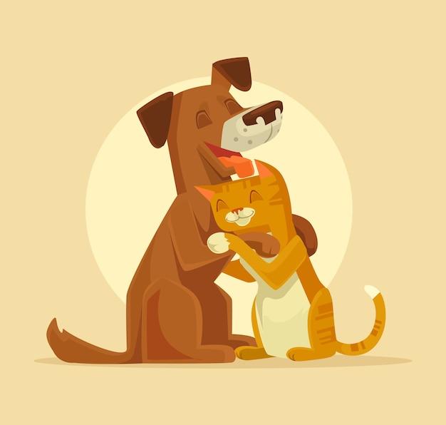 猫と犬のキャラクターの最高の幸せな友達のイラスト