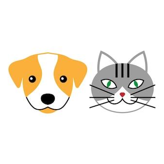 猫と犬のベクトル記号またはロゴ。獣医クリニックのベクトル