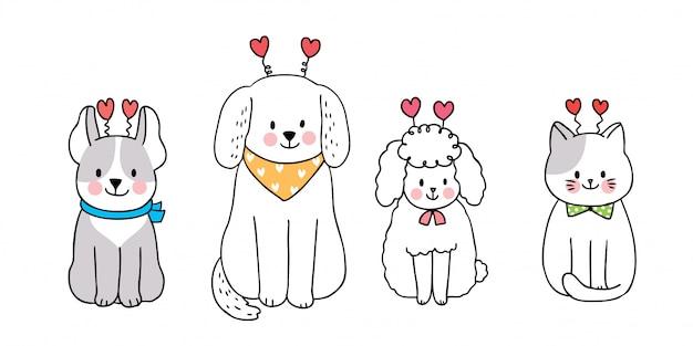 Кошка и собаки и сердца