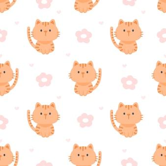 고양이 꽃 원활한 패턴 배경