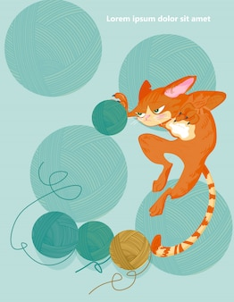 Cat and knitting ball