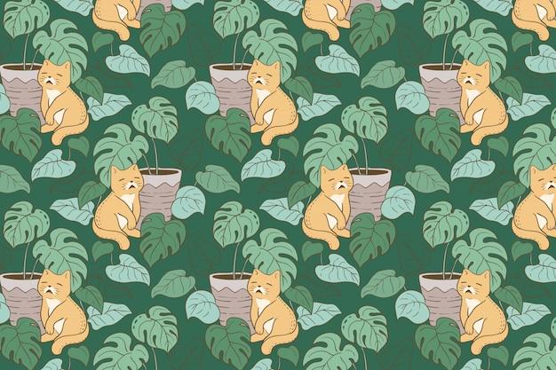 猫とモンステラの手描きのシームレスパターン