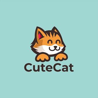 고양이 동물 새끼 고양이 로고 디자인