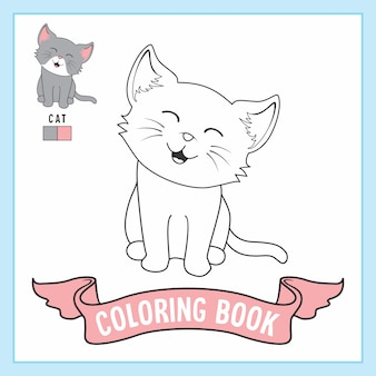 Cat animals coloring pages book