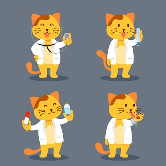 Cat as pet doctor flat character illustration