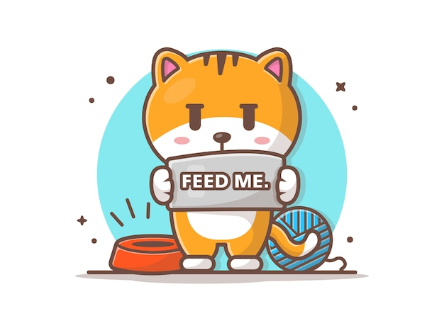 Cat ask to feed  illustration