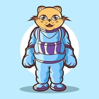 Cat astronaut cartoon illustration