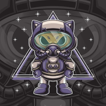Cat astronaut character illustration