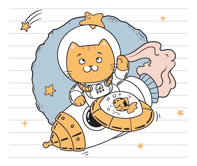 Кошка космонавт каракули арт Premium векторы