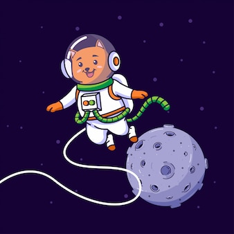 Cat astronaut flying in space