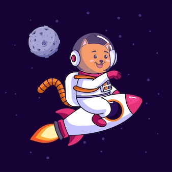 Cat astronaut riding rocket