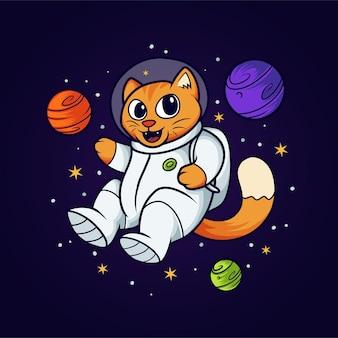 Cat astronaut in space