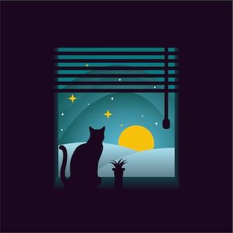 밤에 창이에 고양이
