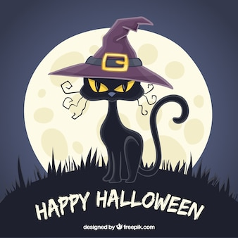 Cat background with witch hat and moon