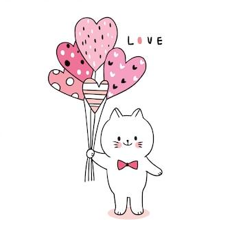 Cat and balloon hearts
