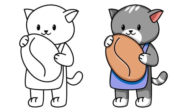 Кошка бариста держит кофе раскраски для детей