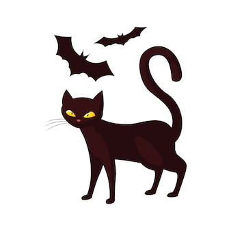 Cat bats happy halloween celebration