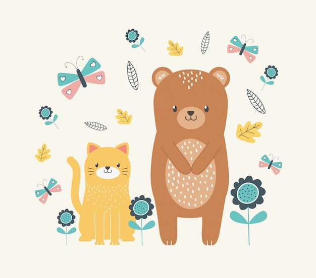 Cat and bear cartoon design vector illustration
