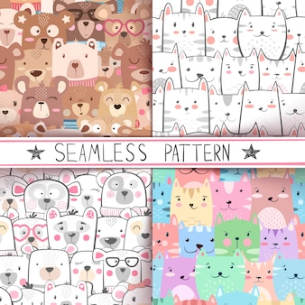Cat, bear - cute seamless pattern set