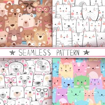 Cat, bear - cute seamless pattern set