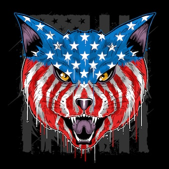 Cat beast head america flag colour vector