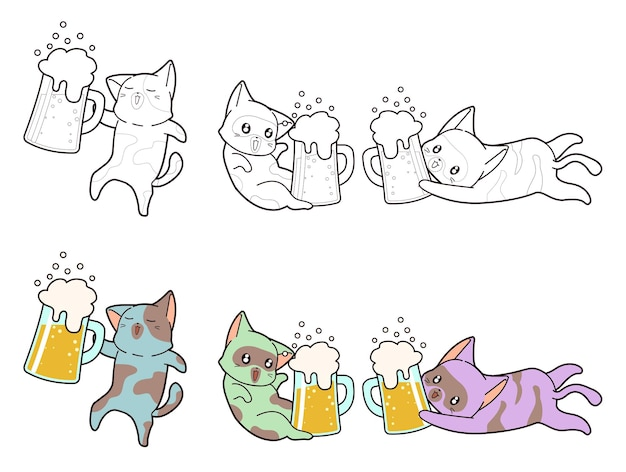 Cat and beer coloring page for kids