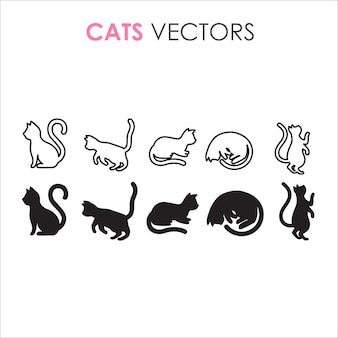 猫の黒い輪郭とシルエットのミニマリストのイラスト