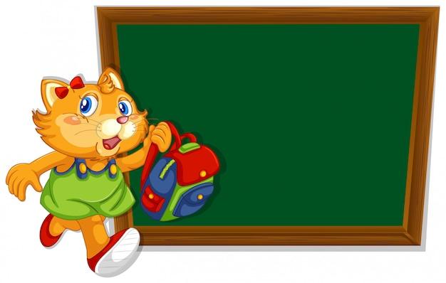 A cat on blank chalkboard template