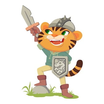 Cat in boots fairy tale character. tiger with a sword, shield and helmet. cat in a costume of a medieval warrior, knight.  illustration isolated on white background.