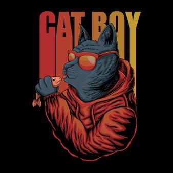 Cat boy eyeglasses illustration