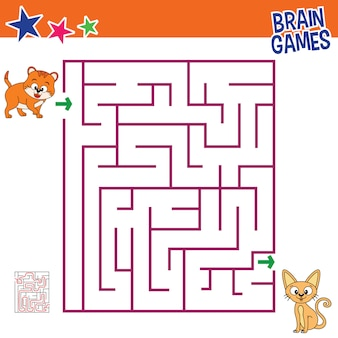 Cat brain games for kids, children activity finding the right way maze