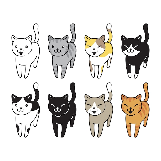 猫の品種のアイコンキャラクター漫画
