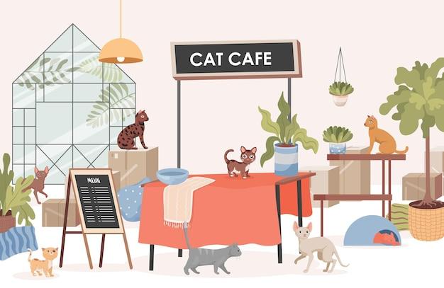 猫カフェフラットイラスト。