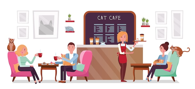 Cat cafe shop, people single and couple relaxing with kitties. place interior to meet, have a rest with pets, waitress tray with cake and coffee.
