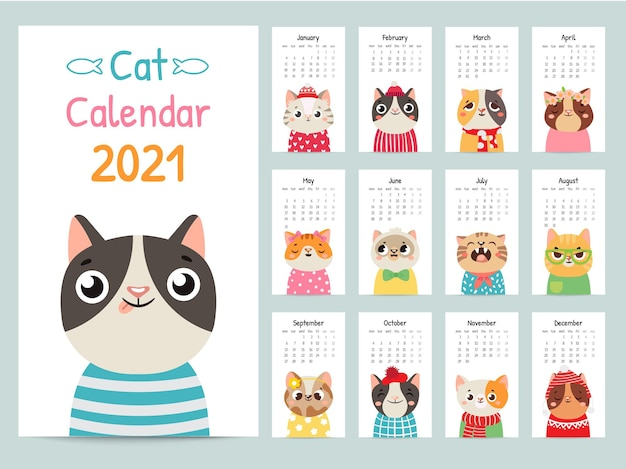 Cat calendar. color gift 2021 calendar with cute cats. funny kitty muzzles, pets characters cartoon vector almanac. adorable pets in different clothing and accessories for each month