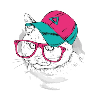 Cat in a cap and glasses. hipster. hand-drawn  illustration.