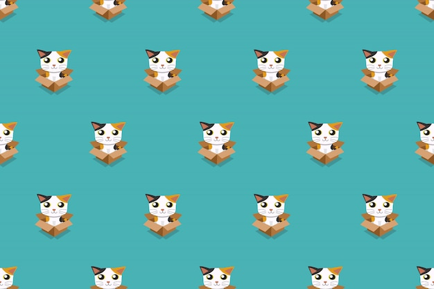 Cat in cardboard box seamless pattern vector cartoon illustration