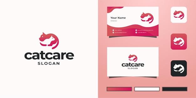 Cat care negative space logo