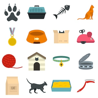 Cat care tools icons set in flat style