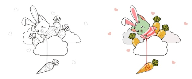 Cat and carrots on cloud coloring page for kids Premium Vector