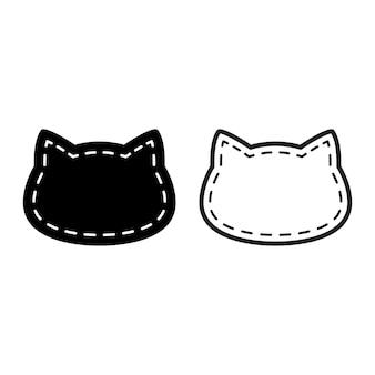 猫の漫画のキャラクター三毛猫ねこネコ子猫の頭ペットの破線
