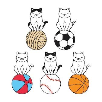 고양이 만화 캐릭터 옥양목 새끼 고양이 애완 동물 공 스포츠