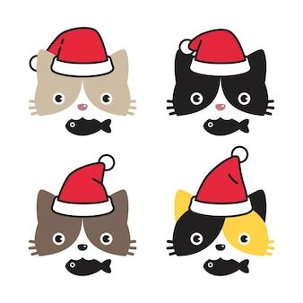 Cat cartoon character christmas santa claus hat kitten cartoon