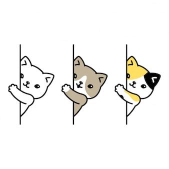 猫の漫画のキャラクターの子猫三毛猫隠れ