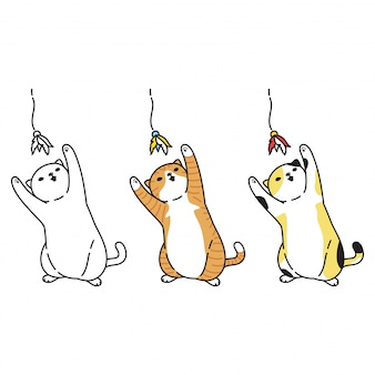 Cat cartoon character kitten calico playing toy