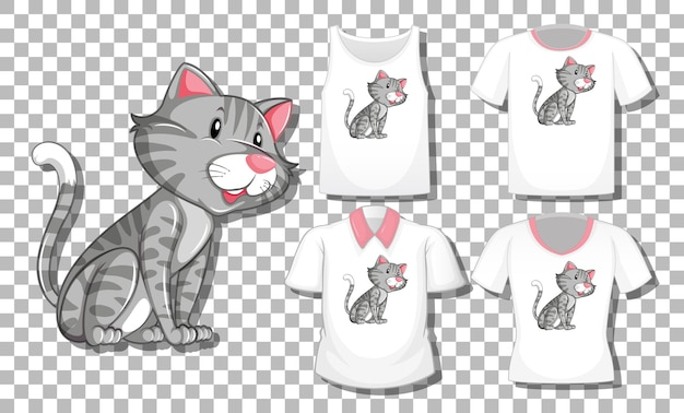 Cat cartoon character with set of different shirts isolated on transparent background