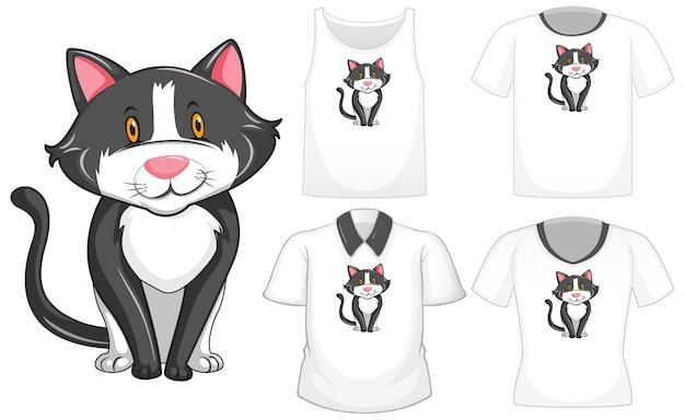 Personaggio dei cartoni animati di gatto con set di camicie differenti isolati su priorità bassa bianca