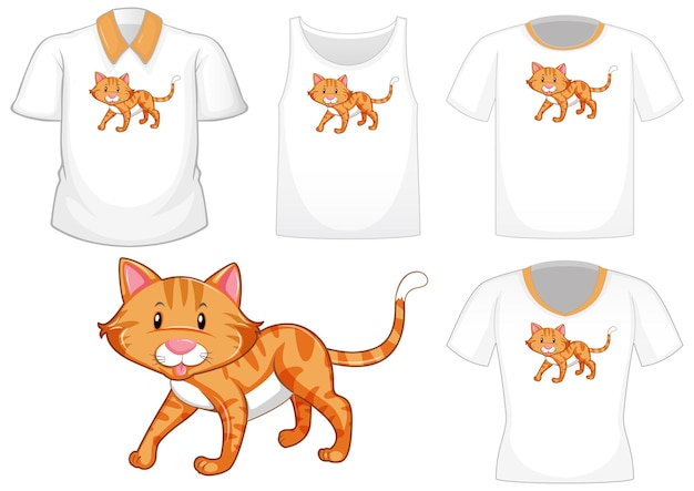 Cat cartoon character with set of different shirts isolated on white background